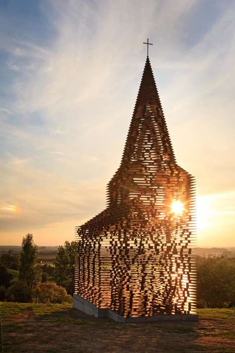 Translucent Steel Churches - This Belgian Steel Church is a Public Piece of Art Made of Many Layers