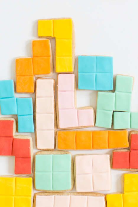Retro Game Cookies - These DIY Tetris Sugar Cookies are Formed to Look Like Video Game Pieces