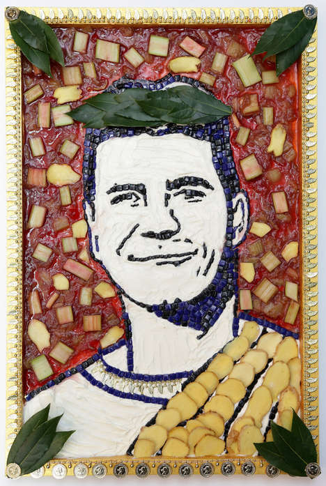 Celebrity Food Portraits - These Paintings of X Factor Judges are Made Out of Yogurt and Fruit