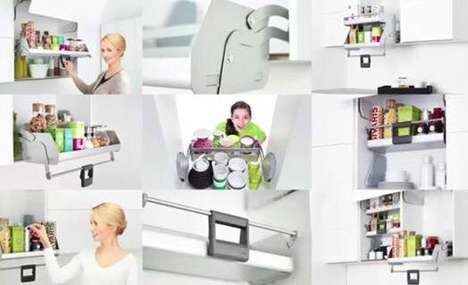 Pull-Down Shelving Units - The iMove is a Smooth Retractable Shelf That Fits Into Existing Cabinets