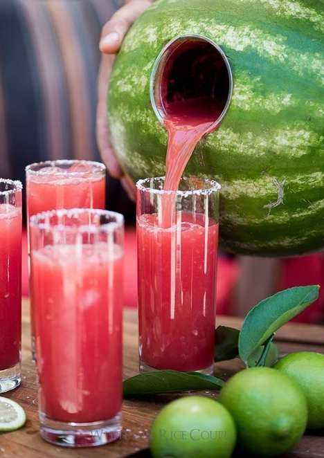 Watermelon Margarita Mixers - This Melon Margarita is Made and Served Directly From the Fruit