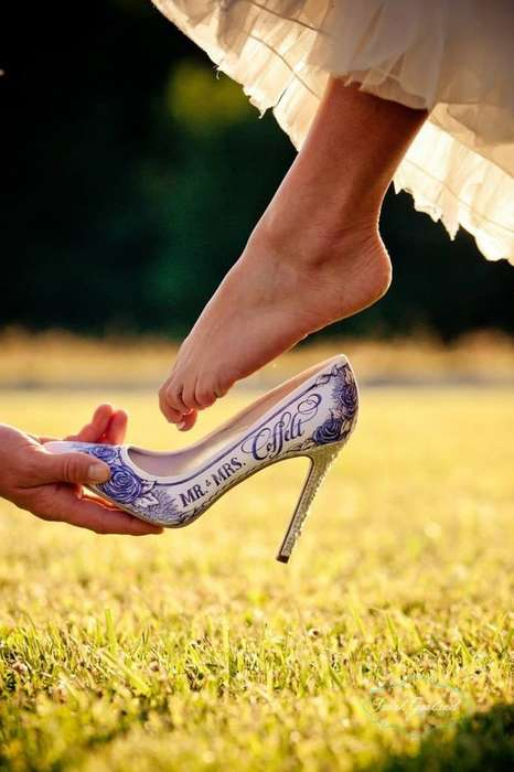 Personalized Wedding Shoes - The Figgie Shoes are Hand-Painted to Reflect Your Relationship