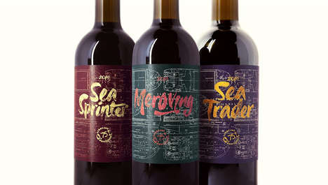 Sea Ship Wines - These Golden Lettered Wines Were Created by the Granvik Shipping Company