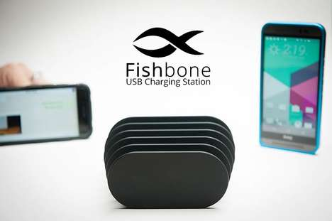 Multi-Layered Charging Stations - The 'Fishbone' Charging Station Keeps Your Device Organized