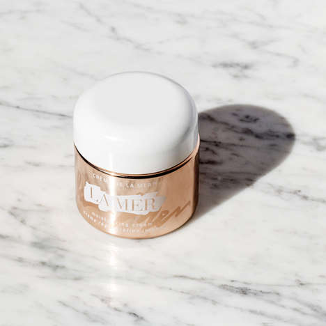 Celebratory Golden Skincare Packaging - The 50th Anniversary La Mer Jars are Made with Rose Gold