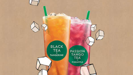 Summery Sparkling Teas - Starbucks' Teavana Beverages Blend Carbonated Water and Tea Leaves