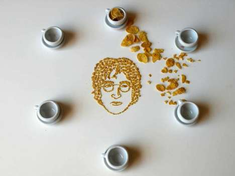 Cereal Celebrity Portraits - Sarah Rosado Uses Corn Flakes to Recreate Famous Faces