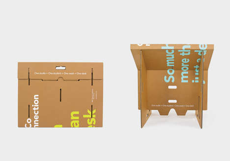 Cardboard Student Desks - This Foldable Desk is an Affordable, Reusable and Portable Work Space