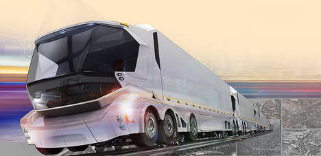 Futuristic Railroad Vehicles - This Freight Liner Can Travel on Both Roads and Train Tracks