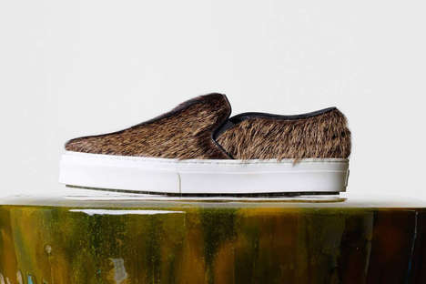 Haute Hairy Sneakers - This Chic Hairy Sneaker Features an Unconventionally Textured Design
