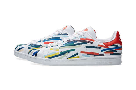 Vibrantly Scribbled Sneakers - These Adidas Originals Stan Smiths Feature Multicolored Doodles