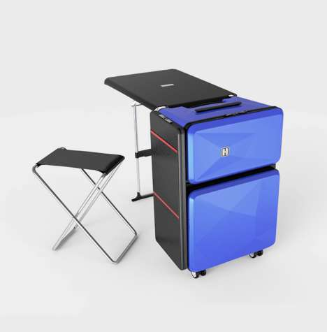 Transformative Travel Suitcases - The 'Transformers' Luggage Doubles as a Seat, a Desk and Cabinet