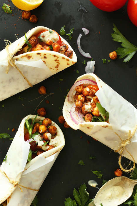 Spicy Chickpea Sandwiches - These Mediterranean Wraps are Meat-Free and Vegan-Friendly