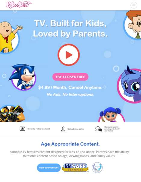 Child TV Subscriptions - Kidoodle Supplies Parents with Age-Appropriate TV for Kids