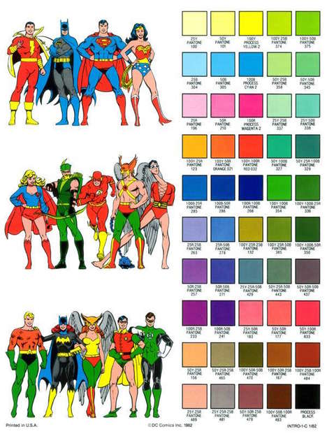 Superhero Color Guides - This Color Guide Shows the Original Colorization of Iconic Comic Characters