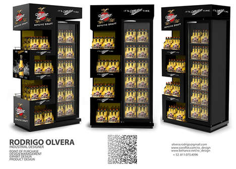 Zig-Zag Beer Displays - Rodrigo Olvera's Miller Genuine Draft Display Boasts Cut-Out Shapes