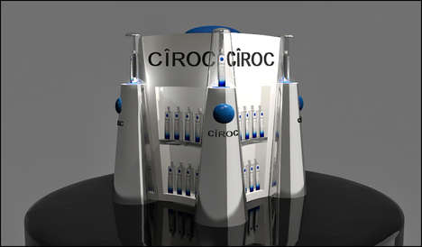 Architectural Vodka Displays - This Ciroc POS Display Resembles a Miniature Building