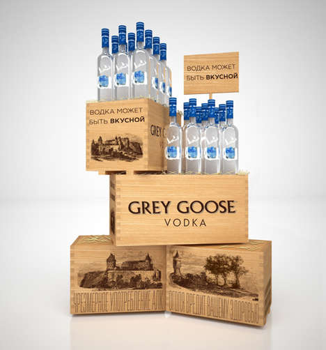 Artisanal Vodka Merchandising - This Grey Goose Retail Display Features Stacked Box Elements
