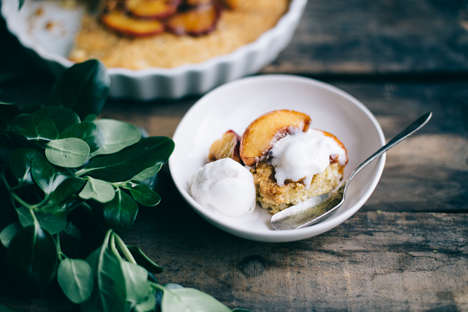 Dessert Cornbread Recipes - This Sweet Dairy-Free Cornbread Comes with Bourbon Syrup and Peaches