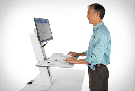 Ergonomically Adjustable Desks - The QuickStand Makes Switching from Seated to Standing a Cinch