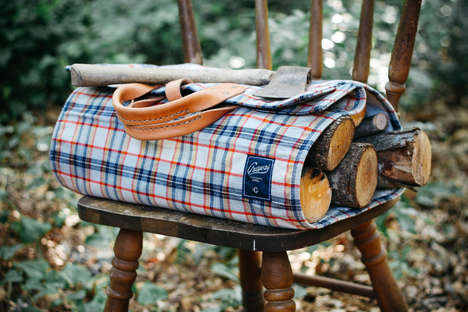 Luxury Log-Lugging Bags - The Winter Session for Grayers Plaid Log Tote is Fashionably Useful