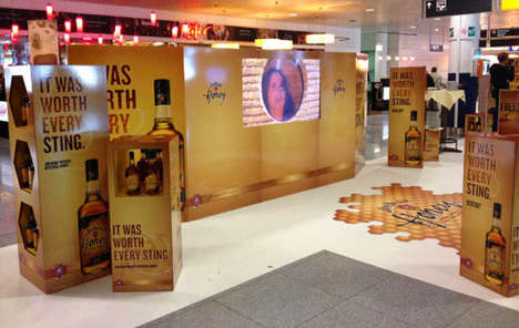 Interactive Whiskey Architecture - This Jim Beam Honey Display is an Immersive Pop-Up Display