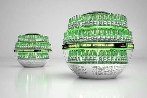 Globe-Inspired Beer Displays - This Pallet Display for Heineken Matches the Brand's Imagery