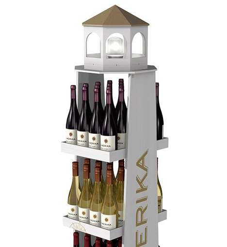 Lighthouse-Inspired Wine Displays - This Wine Retail Display for La Merika References the Seaside
