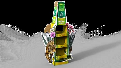 Rainforest Beer Merchandising - This Cardboard Retail Display for Latina Agave Beer is Jungle-Themed