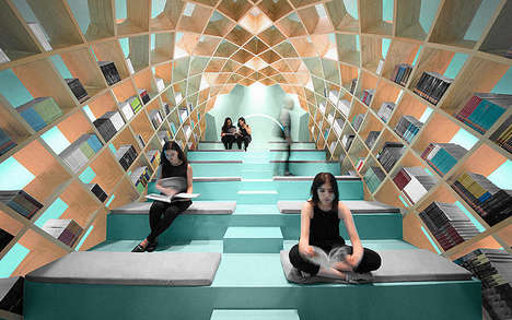 Cocooning Book Libraries - The Conarte Library in Mexico Wraps Readers From Wall to Ceiling in Books
