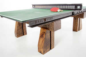 This Ping Pong Table is Made Out of Reclaimed Railroad Tracks