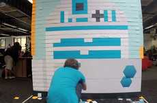 Galactic Pixel Paper Murals - This Star Wars Artwork is Made Using Over 3,000 Post-It Notes