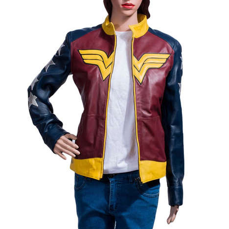 Feminine Superhero Jackets - This Colorful Leather Coat Pays Homage to the Infamous Wonder Woman
