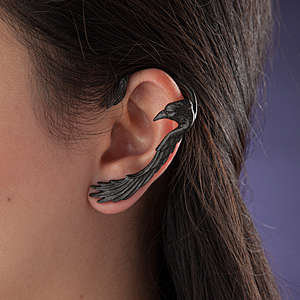 Occult Raven Earrings - The Raven Ear-Wing Ear Wrap Covers Your Ear with a Wing of a Black Bird
