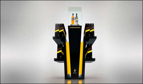 Drink-Shaped Whiskey Displays - Johnnie Walker's Airport Drink Display Resembles a Full Glass