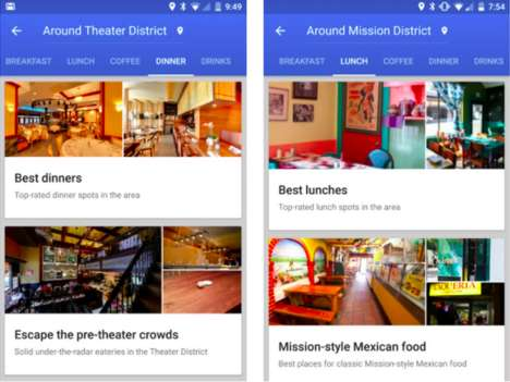 Typographic Restaurant Recommendations - Google Maps Now Conveniently Offers Suggestions on Eateries