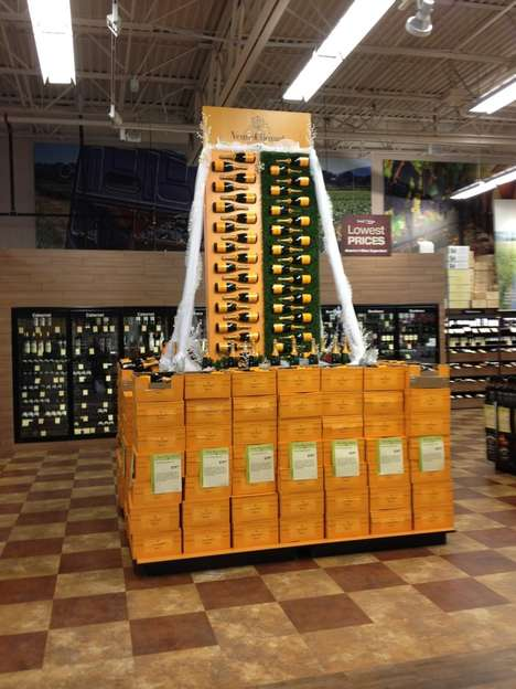 Cascading Champagne Displays - Total Wine's Liquor Store Display Boldly Showcases Veuve Bottles