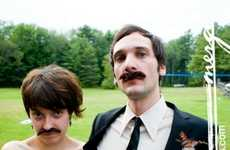 His and Hers Facial Hair - Bride and Groom Wear Matching Mustaches