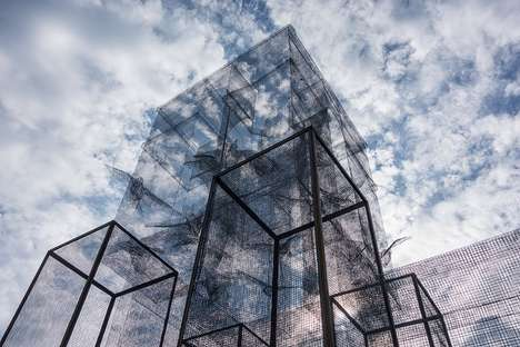 Ethereal Mesh Sculptures - Edoardo Tresoldi Creates an Arching Artwork Overlooking Italian Landscape
