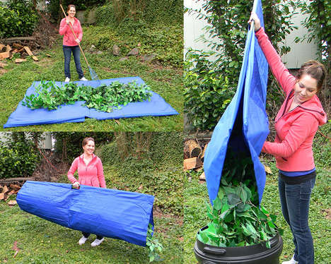 Effortless Gardening Equipment - This Leaf Collection Tarp Takes the Struggle Out of Yard Work