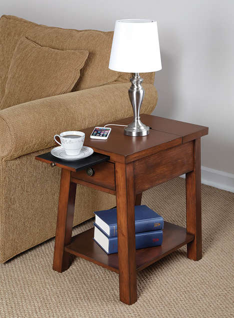 Phone-Charging Furniture - The Device Charging End Table Allows You to Charge Up While Relaxing