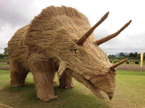 Dinosaur Rice Sculptures - These Breathtaking Enormous Creature Installations are Made from Straw