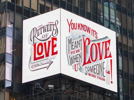 Brand-Adoring Billboards - Diet Coke's 'ReTweets of Love' is a Series of Twitter Art from Fan Tweets