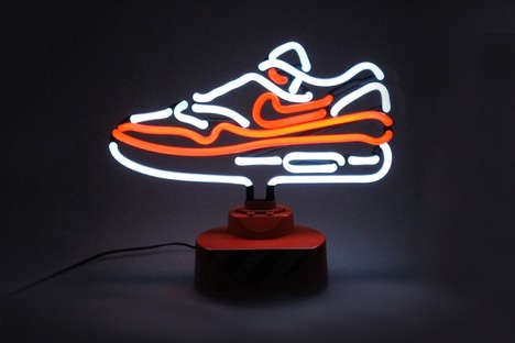 Neon Sneaker Lamps - This Brightly Colored Shoe Lamp Mimics the Iconic Nike Air Max 1 OG Model