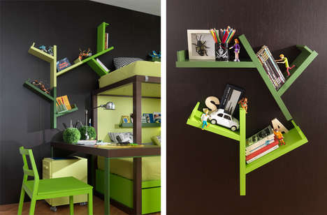 Tree-Mimicking Shelves - The 'Easy Tree' is a Unique Multi-Purpose Storage Unit for Kids