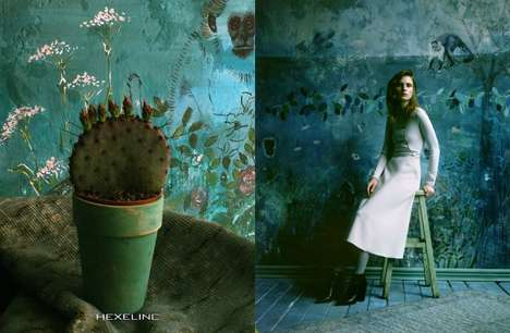 Juxtaposed Fashion Campaigns - Hexeline's Latest Advertorial Blends Home Decor with High Fashion
