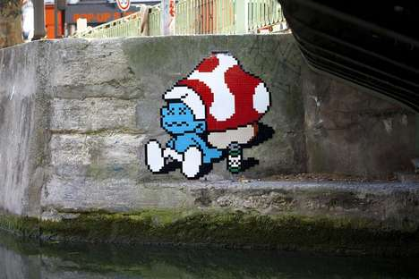 8-Bit Street Art - These Ceramic Tile Art Pieces Portay Pixelated Pop Culture Characters