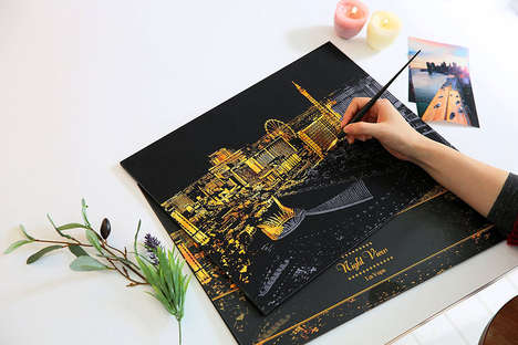 Scratch Card Artworks - 'Scratch Night View' by Lago Design Studio Encourages Customization