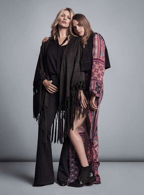 Generational Fashion Ads - The MANGO Autumn 2015 Campaign Features Kate Moss & Cara Delevingne