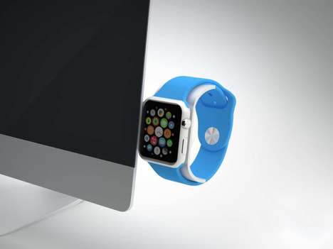 Simplistic Smart Watch Docks - The Saat Apple Watch Stand Clips Easily onto the Side of an iMac